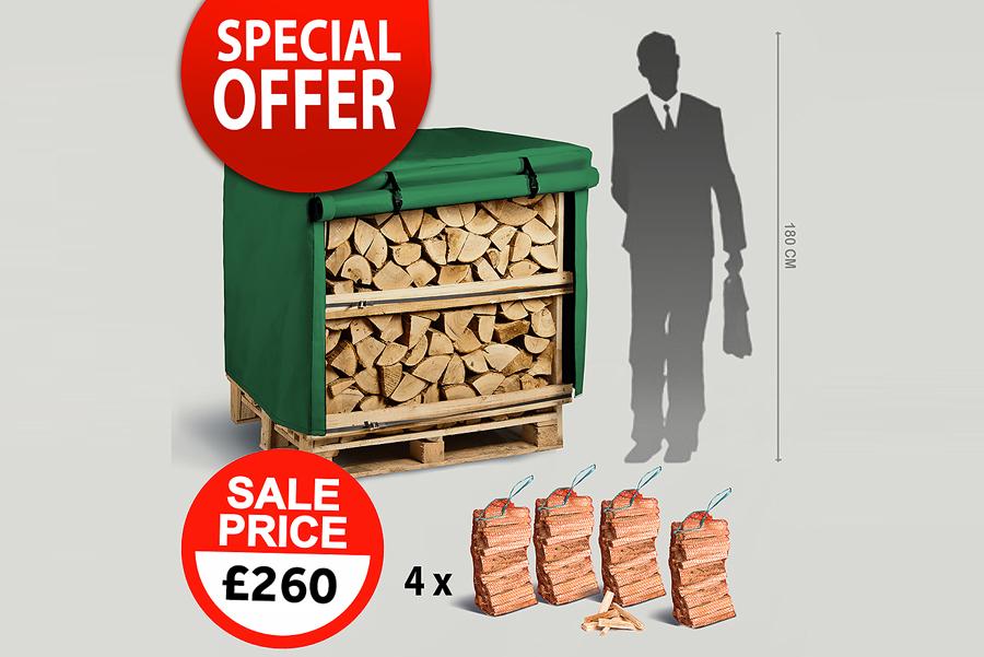 1 x 1.2m³ Kiln Dried Firewood Crates, 1 x Waterproof Jackets, 4 x Kindling Bags