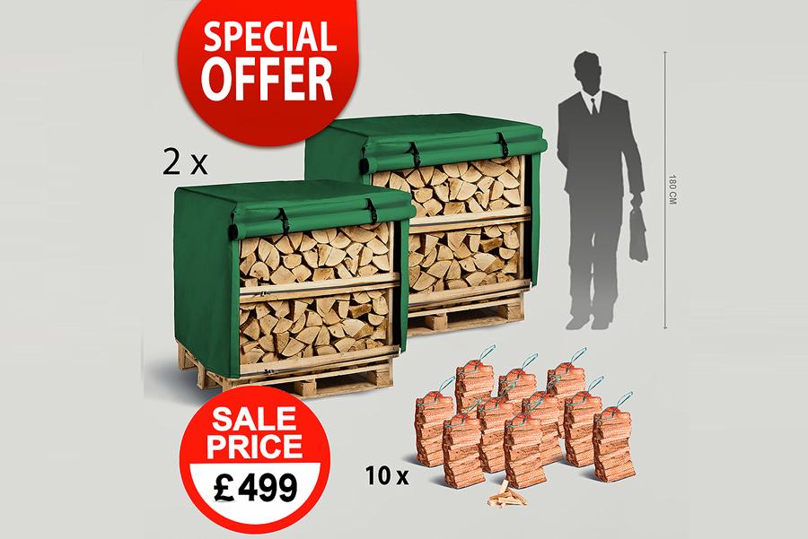 2 x 1.2m³ Kiln Dried Firewood Crates, 2 x Waterproof Jackets, 10 x Kindling Bags