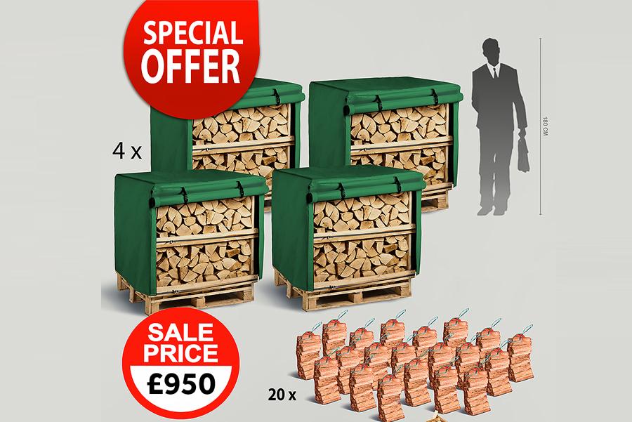 4 x 1.2m³ Kiln Dried Firewood Crates, 4 x Waterproof Jackets, 20 x Kindling Bags